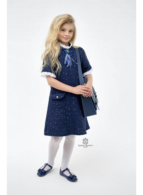 Платье из твида в синем цвете