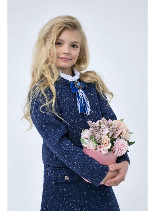 Жакет из твида в синем цвете